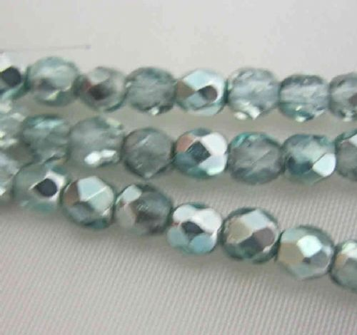 Czech Fire Polished Beads - 4mm - Turquoise (50)